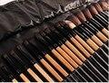Melhor Profissional 32 PCS pêlo de cabra Natural Cosméticos Pincéis de Maquiagem Conjunto com o Saco de Couro Preto Zipper, marca Make Up Brushes