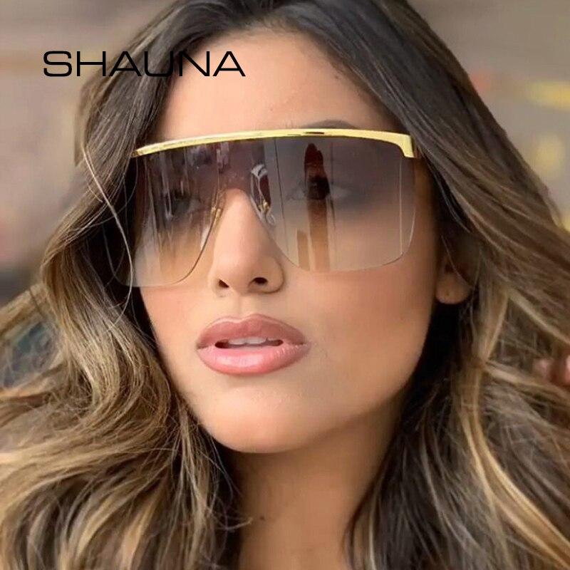 SHAUNA Oversize Half Frame Gradient Sunglasses Women Cover One Piece Goggle Shades Men