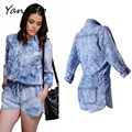 Women's Fashion High Waist Snowflake Print  Sexy Long Sleeve Front Pocket Denim Jumpsuit Romper Shorts Playsuit Overalls