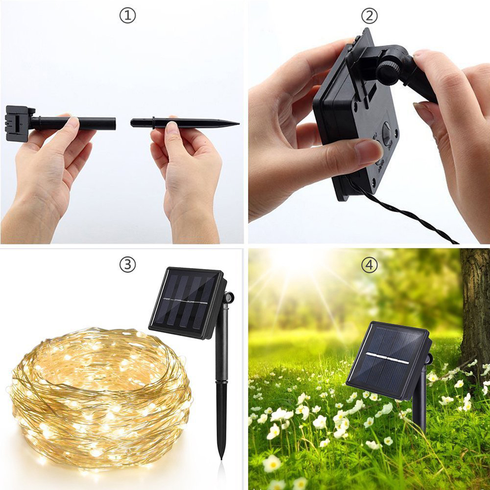 10M solenergi LED String Light Vanntett LED Kobber Wire String - Ferie belysning - Bilde 6