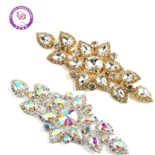 1 Pcs Crystal AB Rhinestone Applique Sewing on Silver Crystals Appliques for Clothing Wedding Dress Decoration
