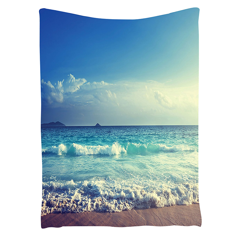 Beach Tapestry Ocean Decor Tropical Island Paradise Beach at Sunset Time with Waves and the Misty Sea Image Wall Hanging Tapes