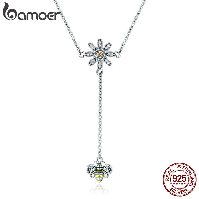 BAMOER Real 100% 925 Sterling Silver Pendant Daisy Flower with Cute Bee Long Chain Pendant Necklace Women Silver Jewelry SCN202 cute women s beads flower bee pendant necklace