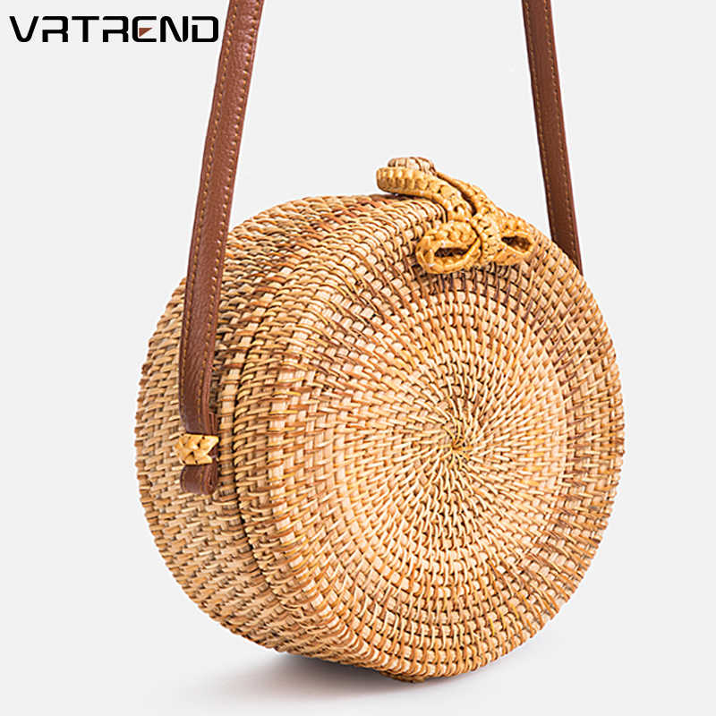 ec2df6fee5a16 VRTREND Fashion Women Hand Woven Bag 2019 Size Round Rattan Straw Bags  Style Beach Circle Bag