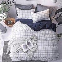 Jeefttby домашний текстиль синий плед пододеяльник наволочка простыня простой мальчик комплект постельных принадлежностей для девочек 3/4 шт о...