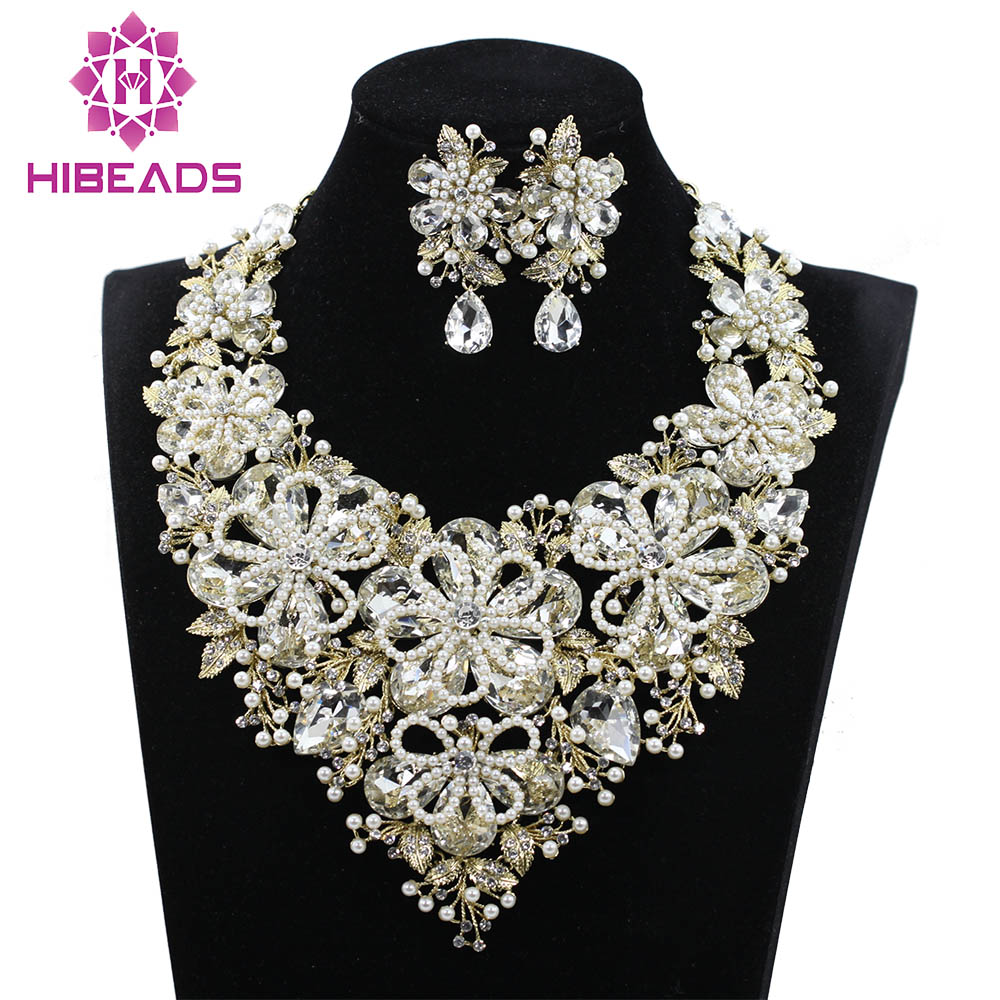 Luxury Pearl Flowers Statement Necklace Drop Earrings Set Crystal Fashion  Bridal Wedding Party Prom Jewelry Set