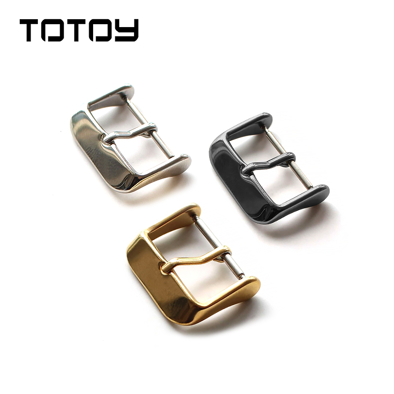 TOTOY 16MM 18MM 20MM 22MM 24MM Stainless Steel Buckle, Silver / Gold Plated Buckle, Leather Strap Clasp   Watchbands