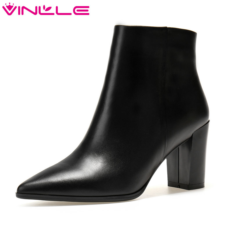VINLLE 2018 Women Boots Shoes Ankle Boots Square High Heel Genuine Leather Pointed Toe Beige Ladies Motorcycle Shoes Size 34-39 vinlle 2018 women boots shoes ankle boots square high heel round toe slip on beige ladies motorcycle shoes size 34 43