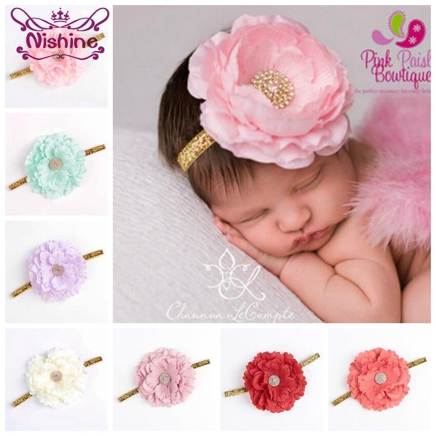 Nishine 1PCS Chic Peony Fabric Flower Kids Girl Headband Artificial Flowers Head Wear Hair Accessories Newborn Photography Props