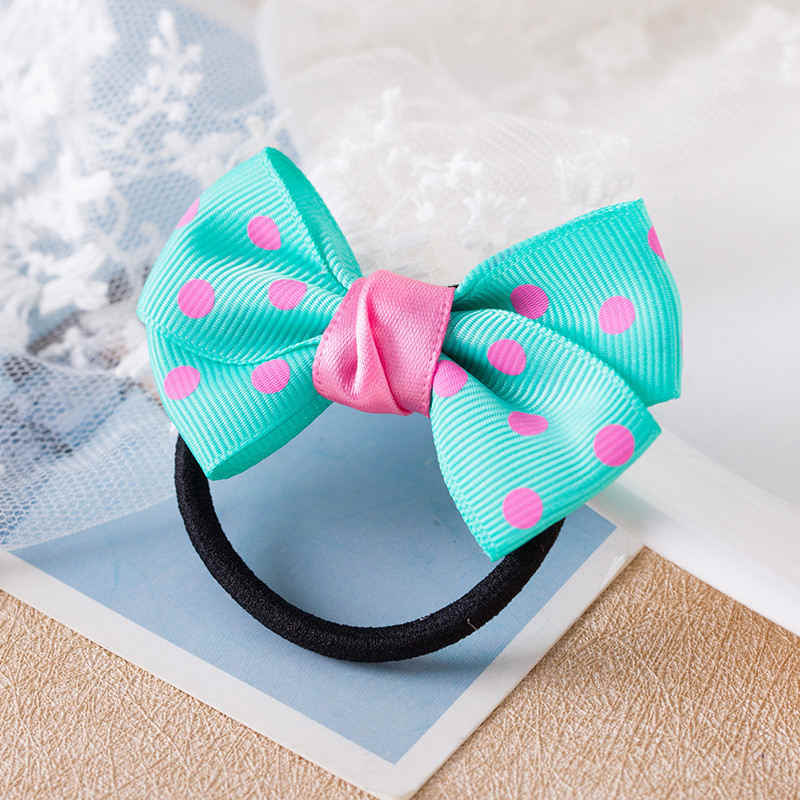1PCS Fashion Dots Solid Bow Elastic Hair Bands Toys For Girls Handmade Child Rope Headband Scrunchy Hair Accessories For Kid