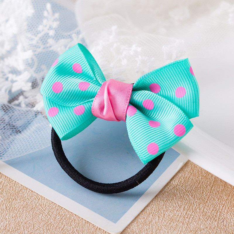 1PCS Fashion Dots Solid Bow Elastic Hair Bands Toys For Girls Handmade Child Rope Headband Scrunchy Hair Accessories For Kid newborn photography props child headband baby hair accessory baby hair accessory female child hair bands infant accessories