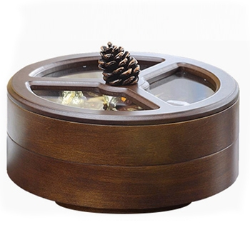 Europe Solid Wood Divider Cover Dry Fruit Box Living Room Creative Melon Seeds Confectionery Plate Home Dry Fruit Plate