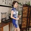 Verão Moda Mulher Elegante Azul Cheongsam Chinês Qipao Vestido Tradicional Chinês Fêmea Traje Qipao