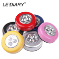 LEDIARY 4PCS/Lot Battery Powered Stick Tap LED Touch Lamp 3LEDs/4LEDs Round Veilleuse Mini Cordless Kids Touch Lamp