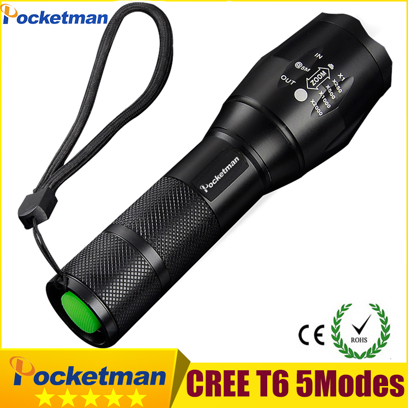 CREE XM-L T6 LED Flashlight tactical Torch Light Lamp Zoomable 5-Mode LED Flash Light 2000LM Linterna LED Lanterna Tatica z90 q5 flashlight tactical 2000lm lanterna torch penlight 3 modes zoomable linterna led diving flash light 1w high power