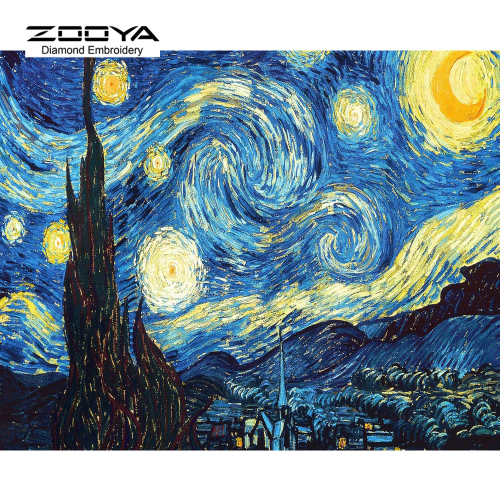 Home Decoration DIY 5D Diament Haft Van Gogh Starry Night Cross Stitch zestawy Streszczenie Obraz Olejny Żywica Hobby Craft BJ342
