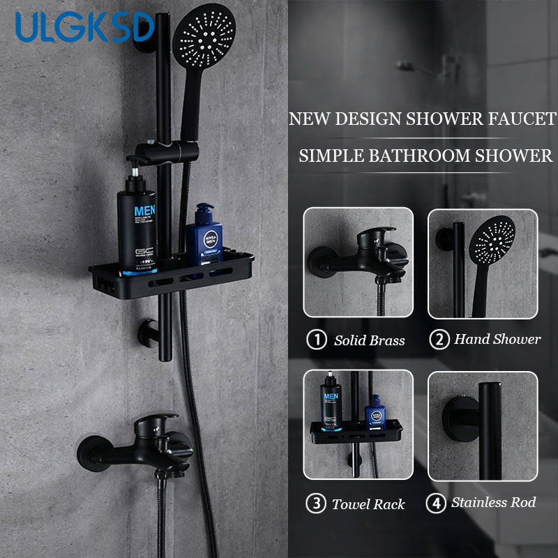 ULGKSD Black Brass Bathroom Shower Faucets Wall Supported Hot and Cold Mixer Tap Ceramic Valve Para Bath Shower Bronze Faucets xueqin bathroom bath shower faucets water control valve wall mounted ceramic thermostatic valve mixer faucet tap