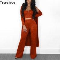 Tsuretobe Knitting Casual Two Piece Set Women New Autumn Elegant Cardigan Outwear Tracksuit Wide Leg Fashion Two Piece Set