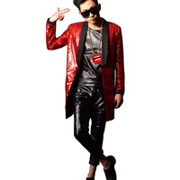Custom Costumes Nightclub Stage Show Red Sequins Long Casual Blazers Jacket Fashion Male Slim Fit Casual Suit Coat