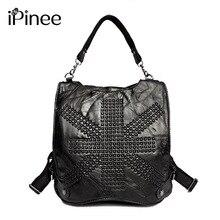 Ipinee Новый 2017 натуральная кожа женские рюкзаки дизайнерский бренд женский череп школьные сумки дорожные сумки