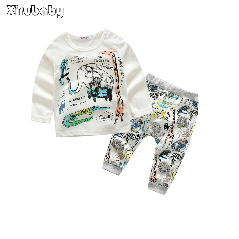 Xirubaby Summer Baby Boys Girls Clothes Sets Casual Style Infant Cotton Suits Sports T Shirt+Pants 2 Piece Kids Children Suits