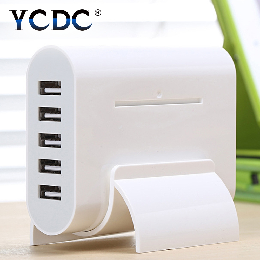 YCDC 1.4m Cable 5-Port USB Hub 5V 8A Travel Home Wall Charger Socket White Power Adapter For iPhone Samsung Tablets US UK EU