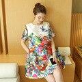 2016 одежды Для Беременных лето топ мода свободные мультфильм печати цельный платье для беременных с коротким рукавом a-line юбка