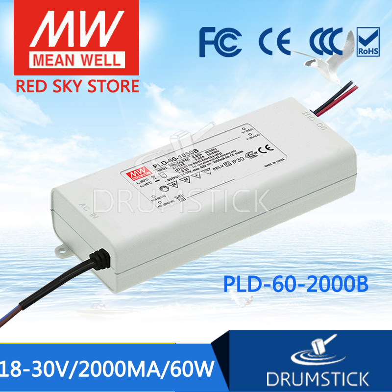 все цены на  100% Original MEAN WELL PLD-60-2000B 30V 2000mA meanwell PLD-60 30V 60W Single Output LED Switching Power Supply [Hot1]  онлайн