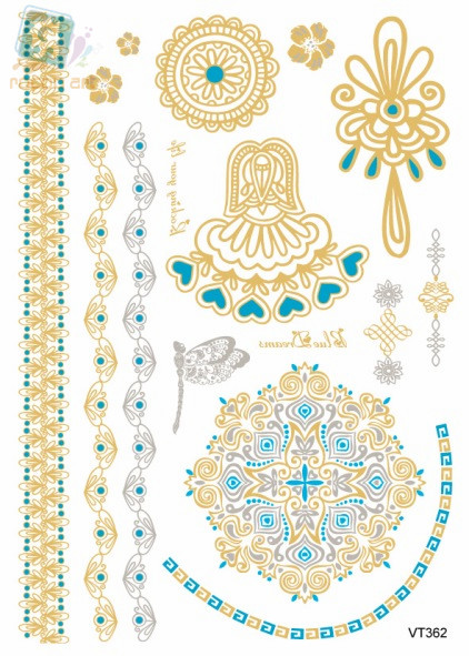 VT362/Fashion traditional waterproof metalic gold tatoo fake body temporary tattoo gold flash wrist tattoos