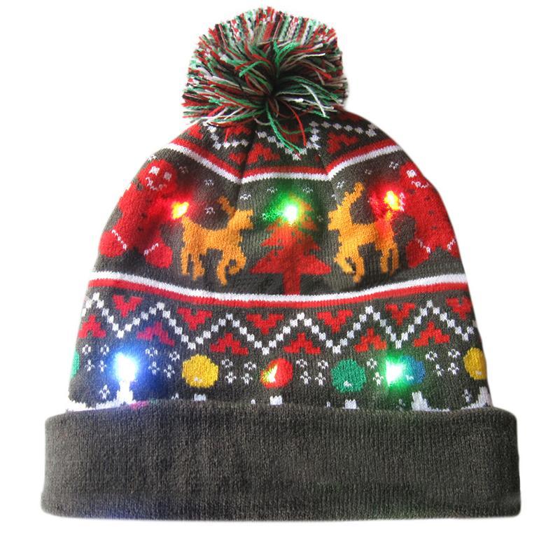 Г., 43 дизайна, светодиодный Рождественский головной убор, Шапка-бини, Рождественский Санта-светильник, вязаная шапка для детей и взрослых, для рождественской вечеринки - Цвет: 08
