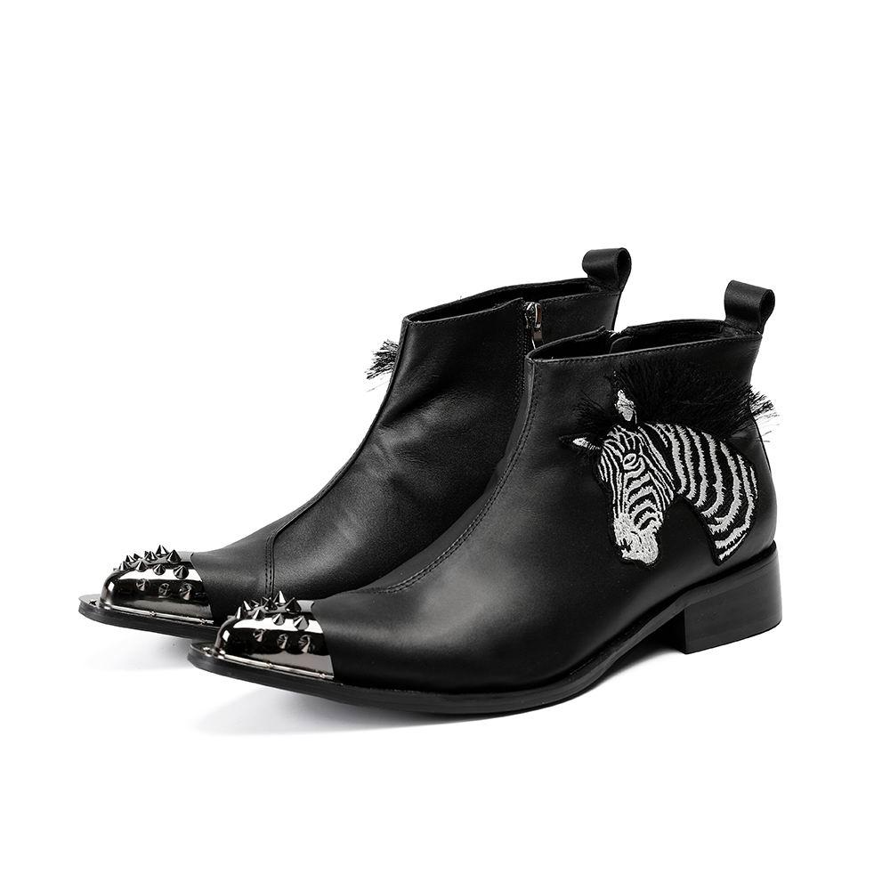 Negro Boot Alto Cebra Nueva Moda Hombres Zapatos Errfc Llegada Estrecha Diseñador Remaches Botas Punta Cuero De Hombre Martin Bordado 1UqxEOw