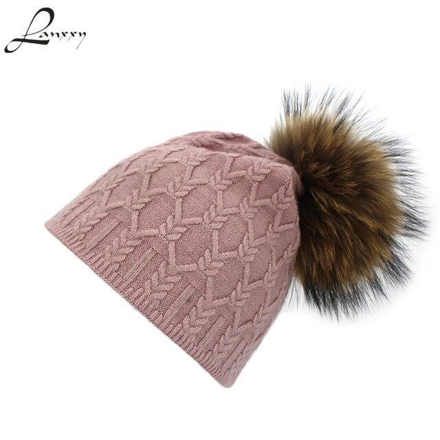 035ab152c8811 Lanxxy Real Fur Hat Women Beanie Cap Pompom Hats Girls Gorro Touca Bonnet Pom  Pom Winter Hats for Women