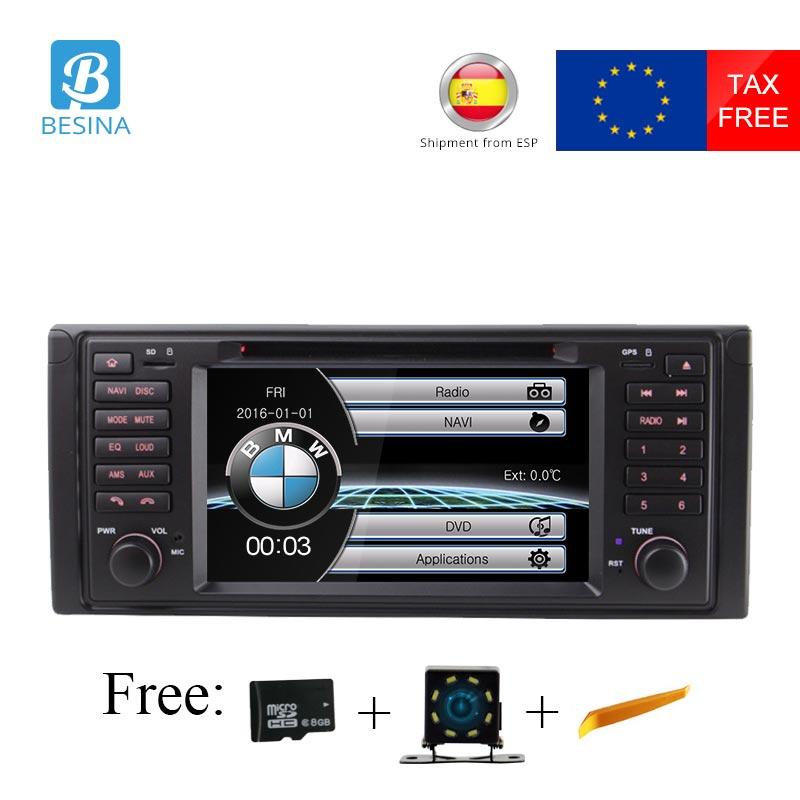 Besina 1 Din Voiture Radio Pour BMW E39 X5 M5 E53 Voiture Multimédia Lecteur DVD GPS Navigation Canbus Stéréo Auto audio RDS USB FM Caméra