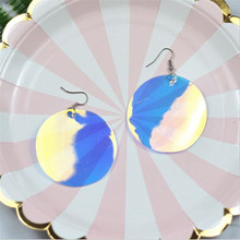 new arrival PVC sequin round star earrings for women lightweight water drop statement fashion jewelry