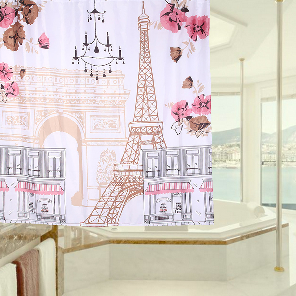 180X180cm Shower Curtain 3D Cartoon Tower Waterproof Bathroom Curtains Printing Bath Curtain One Size