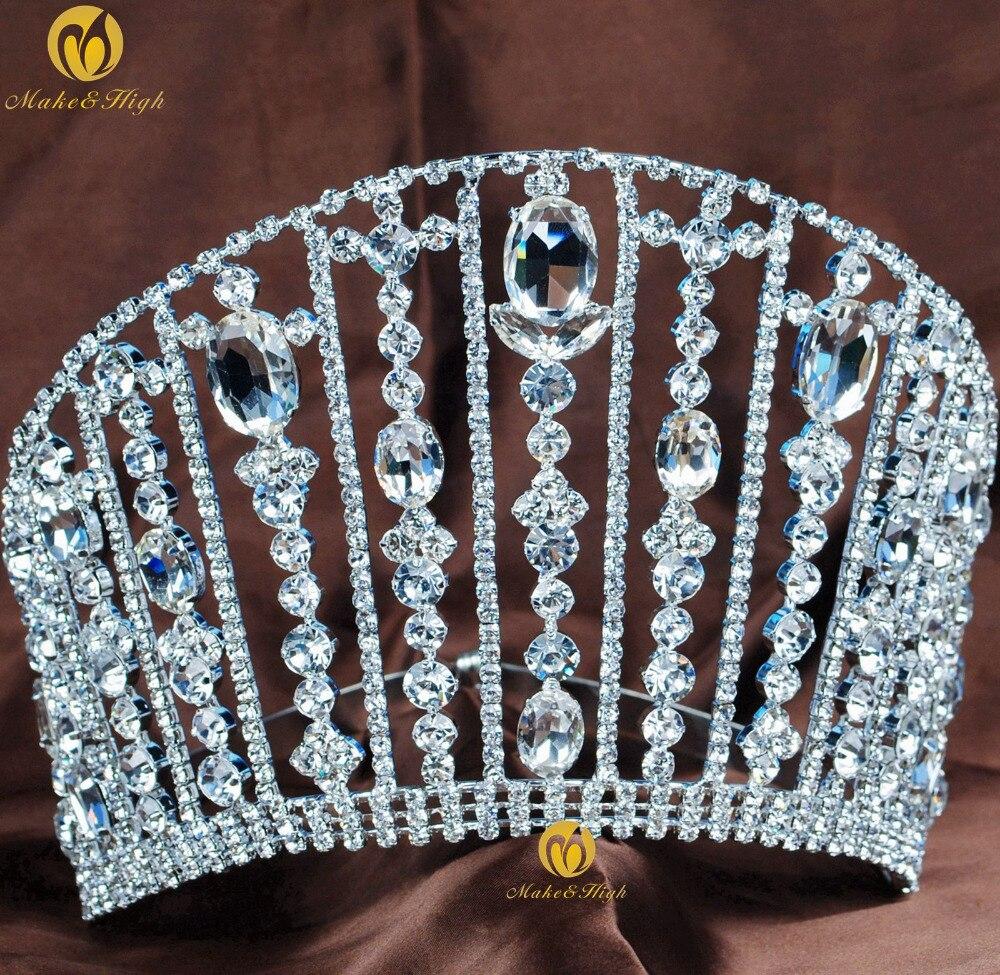 Grande Reine Roi Mariée Diadème Couronne Pour Les Femmes Headdband Support de De Bal De Mariée De Mariage Diadèmes et Couronnes Cheveux Bijoux Accessoires Réglable