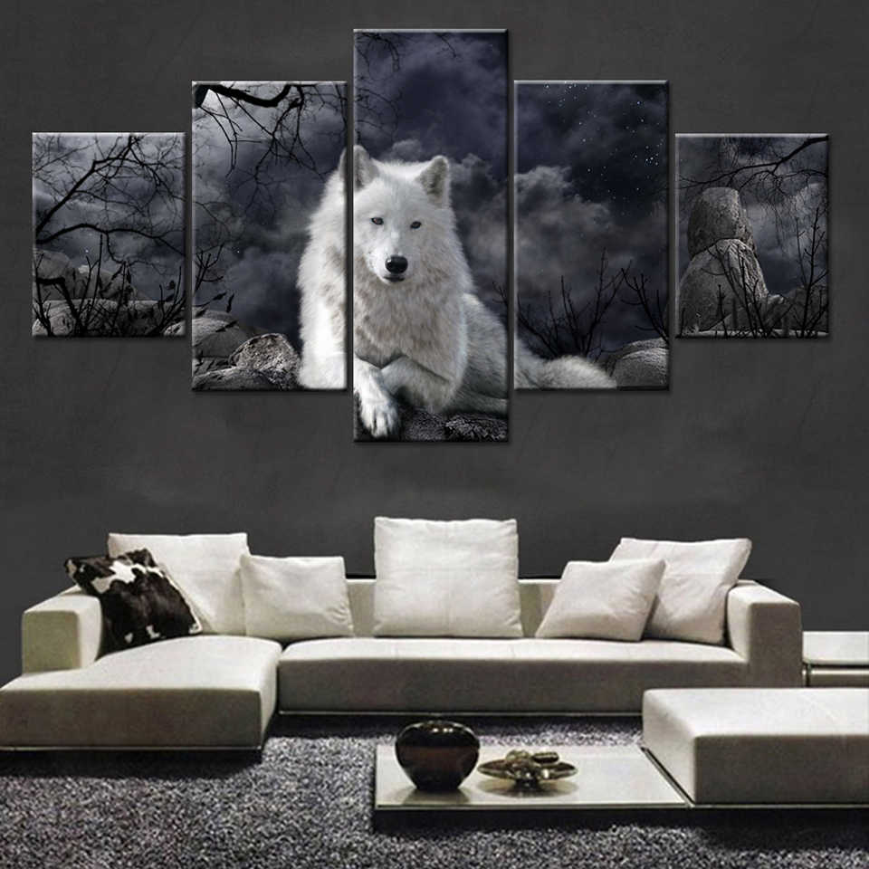 Painting Oil Poster Wall Fashion Picture For Home Decoration 5 Panel Animal Wolf Canvas Art Print Modular Kids Room Framework