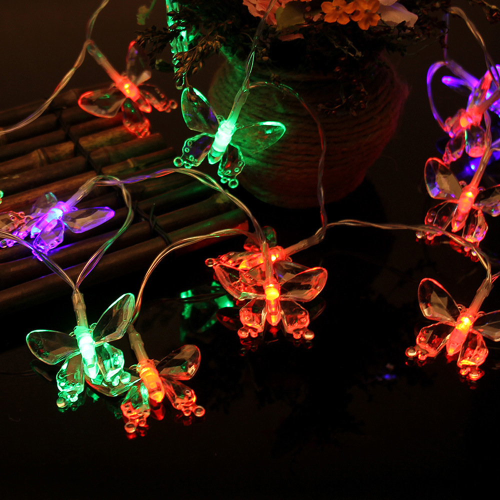 Waterproof 20-LED Butterfly Shaped Light String Changable Festival Christmas New Year Party Decoration 220CM Drop Shipping
