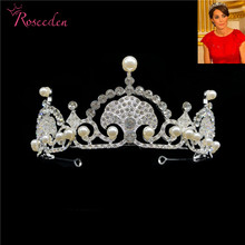 купить Princess Kate Tiara Baroque Bridal Crown Tiaras Silver  Diadem for Women Bride Wedding Hair Accessories RE3375 дешево