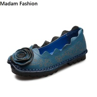 Madam Fashion Flat Shoes Genuine Leather Women Shoes Handmade National Style Ladies Shoes Sweet Women S