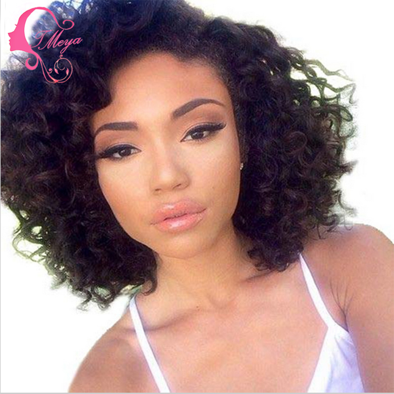 Glueless jet black short curly bob wig curly full lace human hair wigs bob  lace front wig for african american black women 1dce78deed31