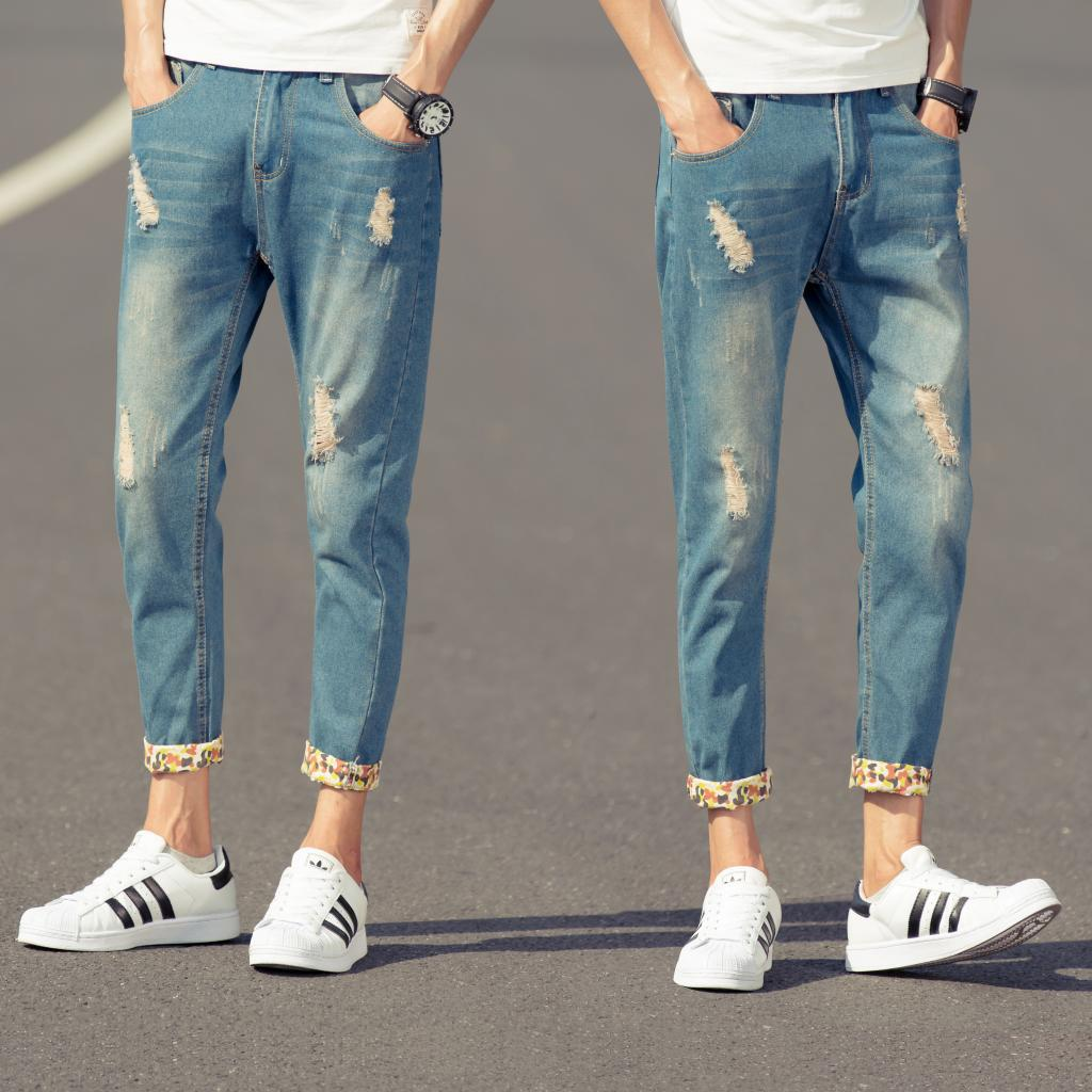 9 new in summer and autumn worn cuffed trousers mens ...