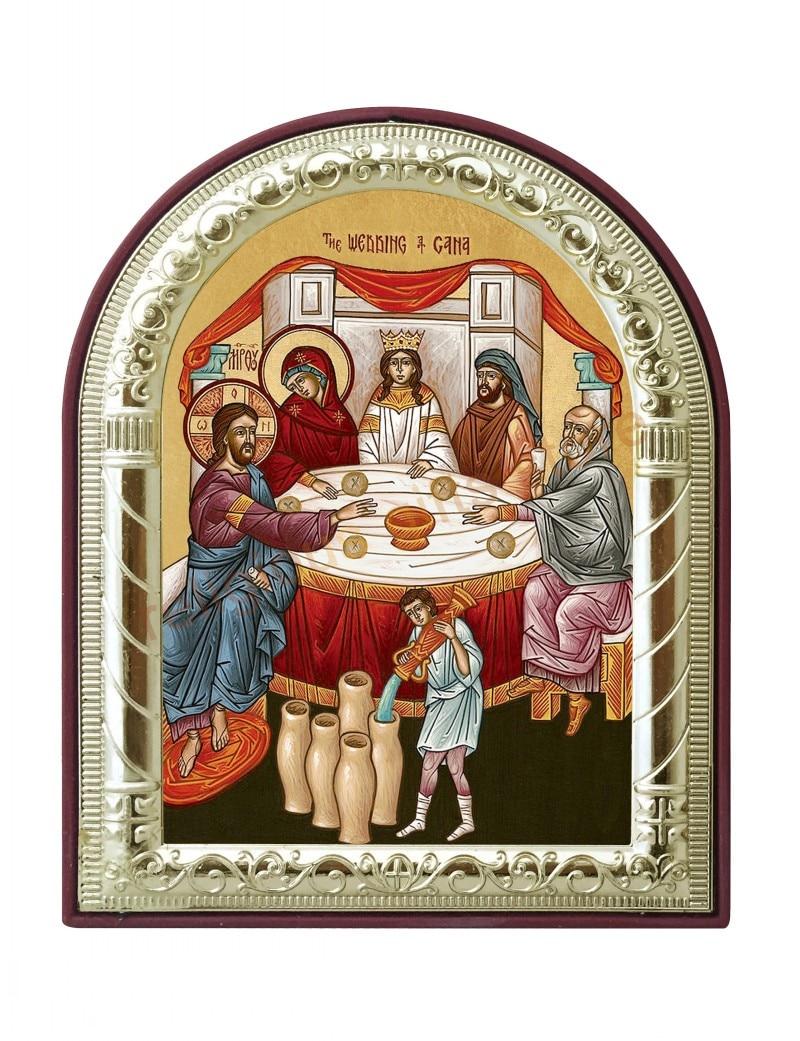 lehet egyedi műanyag ortodox ikon dekor öntés aranyozott ezüst Esküvői Cana keresztény képek vallási karácsonyi képek