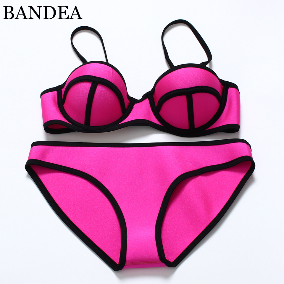 2016 sexy Women Push Up solid color Bikini Set Neon solid color Swimwear Underwire Swimsuit Biquini Maillot De Bain sexy halter push up color block underwire bikini set for women