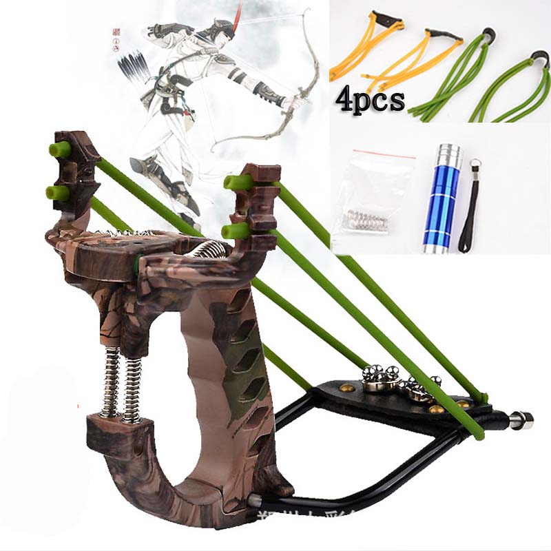Top Slingshot Hunting Powerful Catapult Green Stainless Steel Hunter Titanium Alloy Fishing Sling Shot Bow With Clamp and Laser hight velocity slingshot super strong slingshot hunting caza powerful fishing catapult alloy sling shot laser slingshot