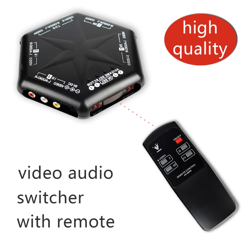 New 4 in 1 out S-Video Video Audio Game <font><b>RCA</b></font> AV <font><b>Switch</b></font> Box Selector Splitter+<font><b>Remote</b></font> Control image