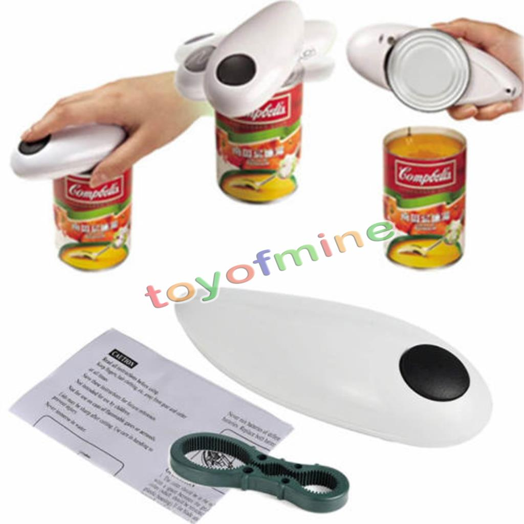 Automatic Tin Can Opener One Touch Electronic Electric Hands Free Operation Kitchenware with Jar bottle Wrench Stainless Steel