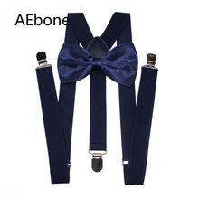 цена на AEbone Navy Blue Bow Tie Suspenders for Men Big and Tall 2.5cm Wide Mens Suspenders 120cm Burgundy Suspensores Para Hombre Sus60