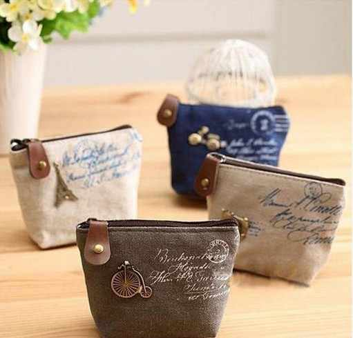 Mini Coin Wallet Ladies Retro Paris Canvas Small Zip Change Coin Purse convenient Key Car Pouch Money Bag