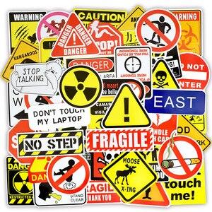 50 قطع تحذير ملصقات خطر حظر علامات تذكير للماء ملصق لاصق لامع ورائع لديي المحمول دراجة نارية الأمتعة على الجليد سيارة